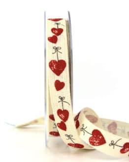 Leinenband mit roten Herzen, 15 mm breit - hochzeitsbaender, bedrucktes-satinband, bedruckte-everyday-bander, valentinstag, muttertag