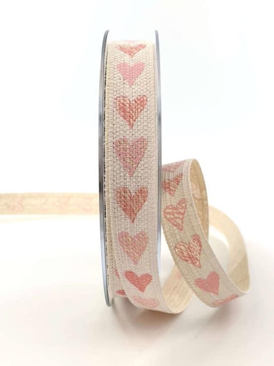 Leinenband mit rosa Herzen, 15 mm breit - hochzeitsbaender, bedrucktes-satinband, bedruckte-everyday-bander, valentinstag, muttertag