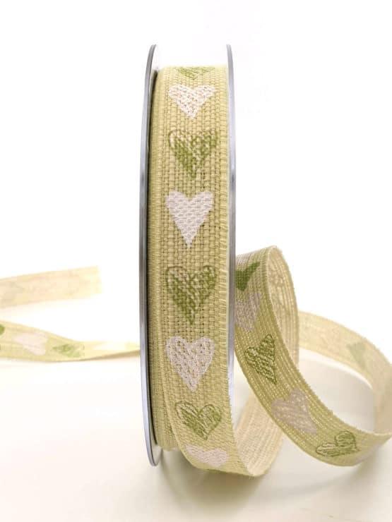 Leinenband mit grünen Herzen, 15 mm breit - hochzeitsbaender, bedrucktes-satinband, bedruckte-everyday-bander, valentinstag, muttertag