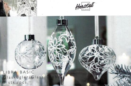 3er Set Libra Glaskugeln von Herstal - geschenke