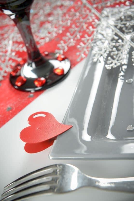 Metal-Herz mit Klammer, weiß - hochzeitsaccessoires