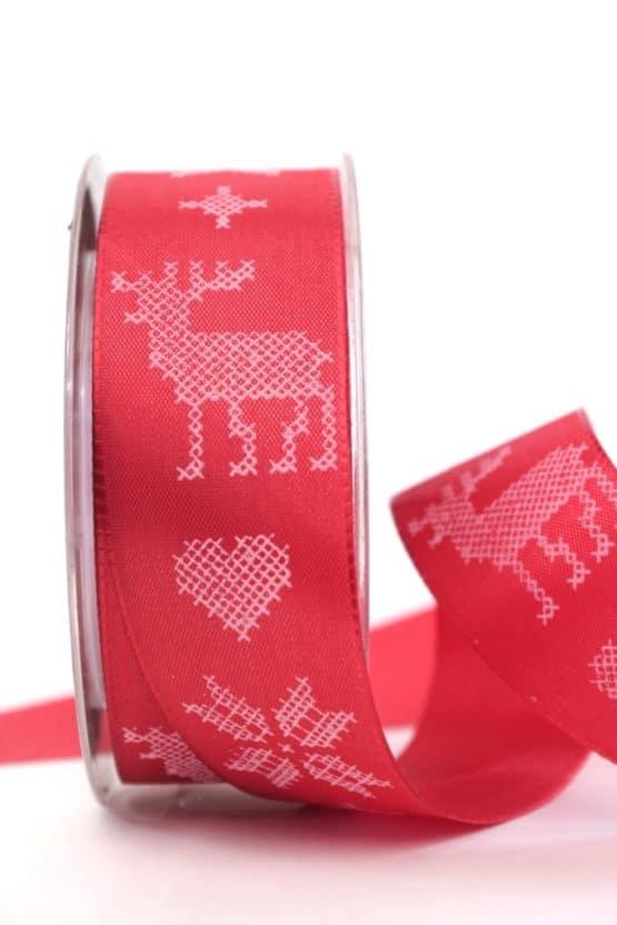 Schleifenband Nordische  Weihnacht, rot-weiss, 40 mm mit Draht - weihnachtsband