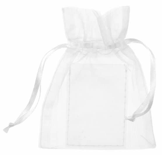 Organza-Säckchen mit Fotoeinschub, weiß - hochzeitsaccessoires