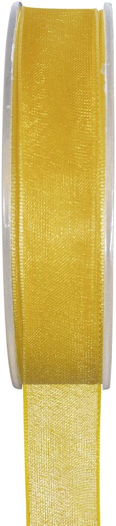 Organzaband gelb, 7  mm breit, BUDGET - organzabaender, organzaband-budget