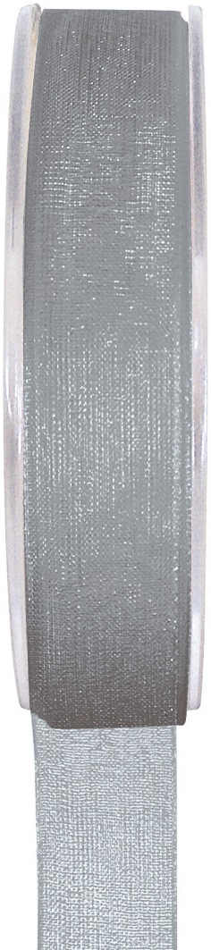 Organzaband grau, 7  mm breit, BUDGET - organzabaender, organzaband-budget