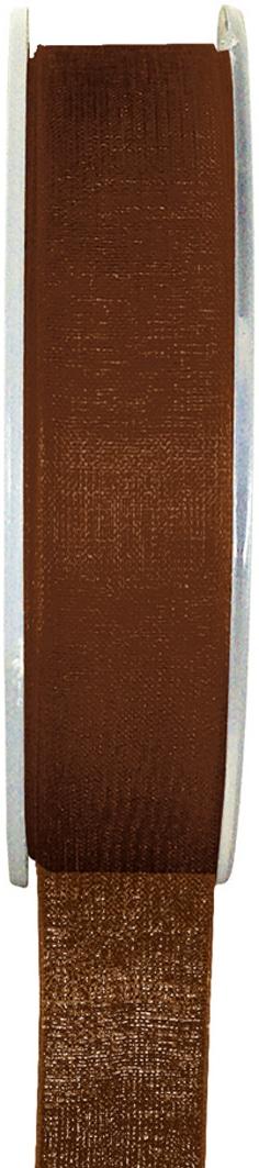 Organzaband schokobraun, 7  mm breit, BUDGET - organzabaender, organzaband-budget