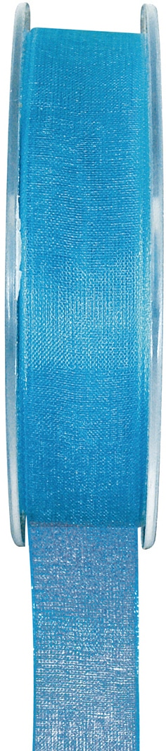 Organzaband türkis, 7  mm breit, BUDGET - organzabaender, organzaband-budget