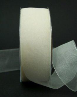 Chiffonband creme, 40 mm breit - hochzeitsbaender