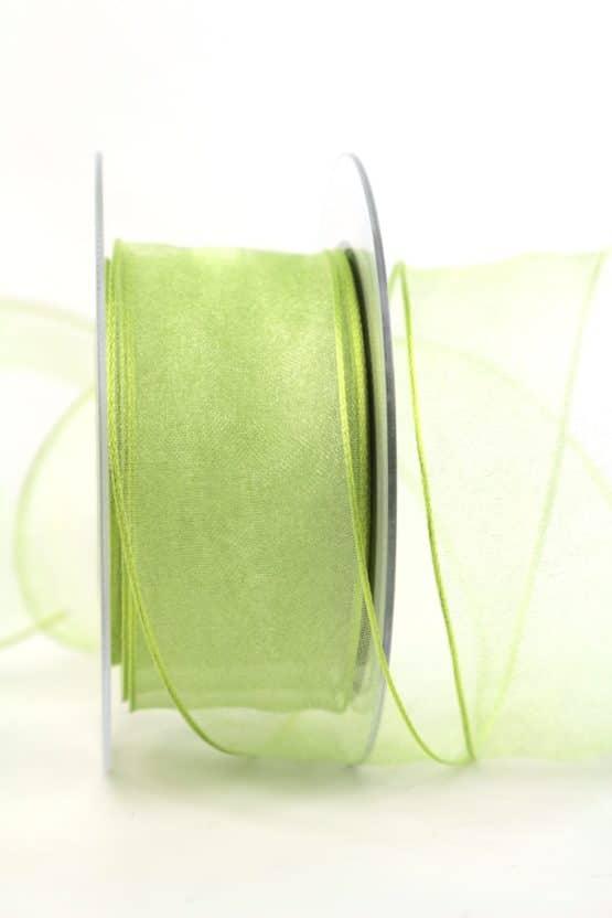 Organzaband maigrün, 40 mm breit, BUDGET - organzabaender