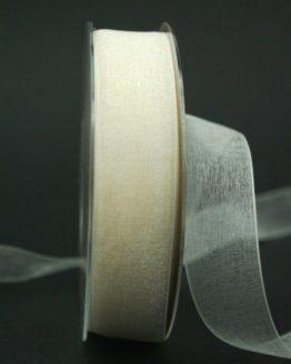 Chiffonband creme, 25 mm breit - hochzeitsbaender