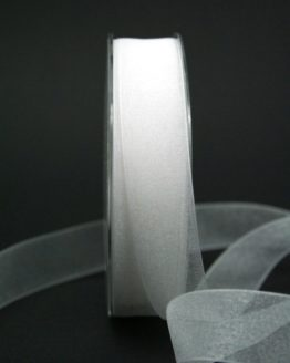 Chiffonband weiß, 25 mm breit - hochzeitsbaender