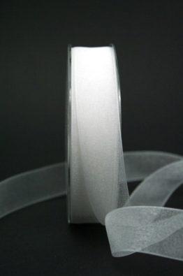 Organzaband mit Webkante weiß 25mm (22011-25-700)