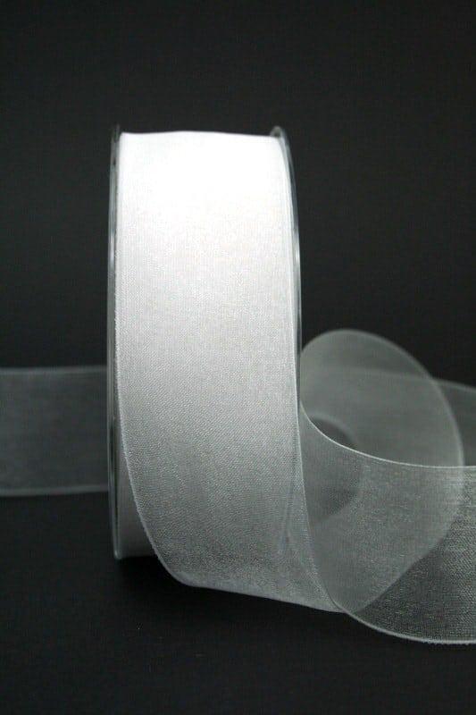 Chiffonband weiß, 40 mm breit - hochzeitsbaender