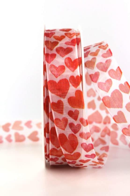 Chiffonband mit Herzen, 25 mm breit - hochzeitsbaender, bedrucktes-satinband, bedruckte-everyday-bander, valentinstag, muttertag