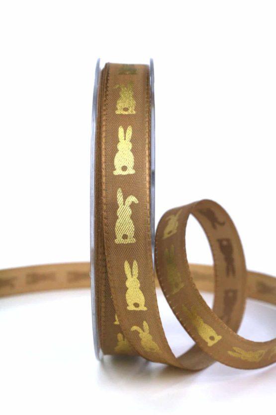 Geschenkband Osterhase, braun, 15 mm breit - gemusterte-bander, bedrucktes-satinband, bedruckte-osterbaender