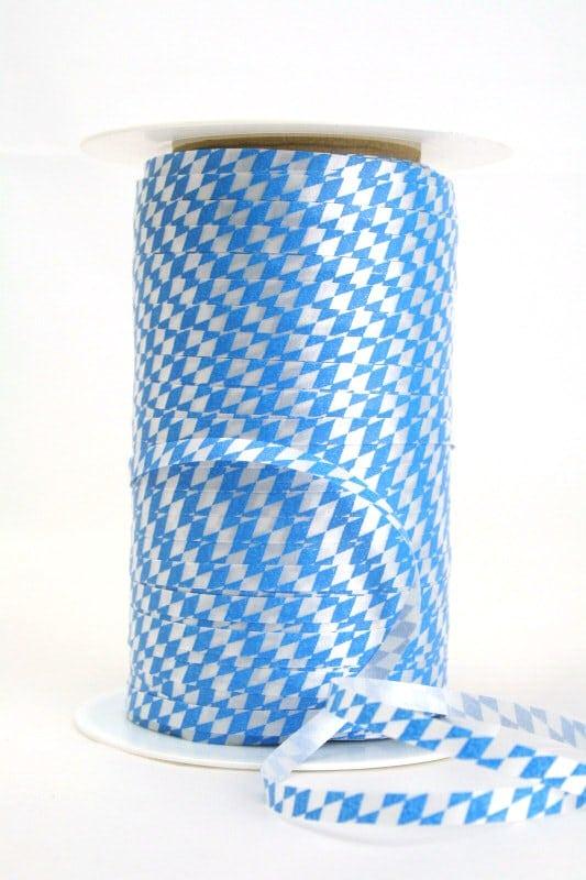 Poly-Ringelband 5 mm, weiß-blau Bayernraute - oktoberfest, nationalbander