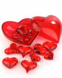 Streuherzen Acryl rot, Größen sortiert, 16 St. - hochzeitsaccessoires, valentinstag