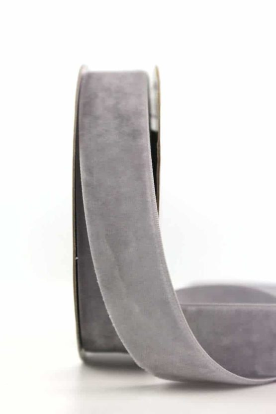 Samtband grau, 25 mm - samtbaender, hochzeitsbaender