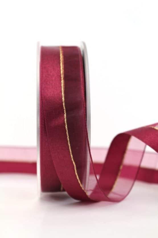 Kombi Satin- und Organzaband, bordeaux-gold, 25 mm breit - weihnachtsband, gemusterte-bander