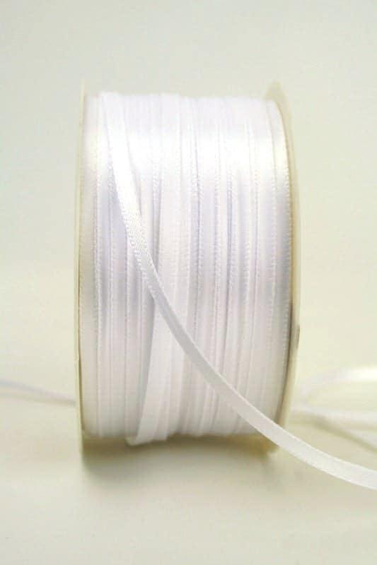 Satinband 3mm, uni weiß - sonderangebot, satinband-budget, satinband, hochzeitsbaender, kommunion-konfirmation