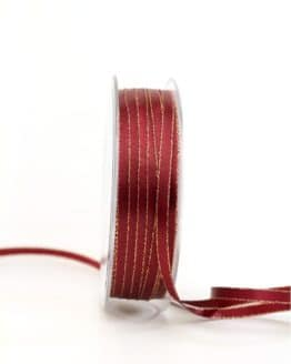 Satinband mit Goldkante, bordeaux, 6  mm breit - satinband-goldkante, satinband