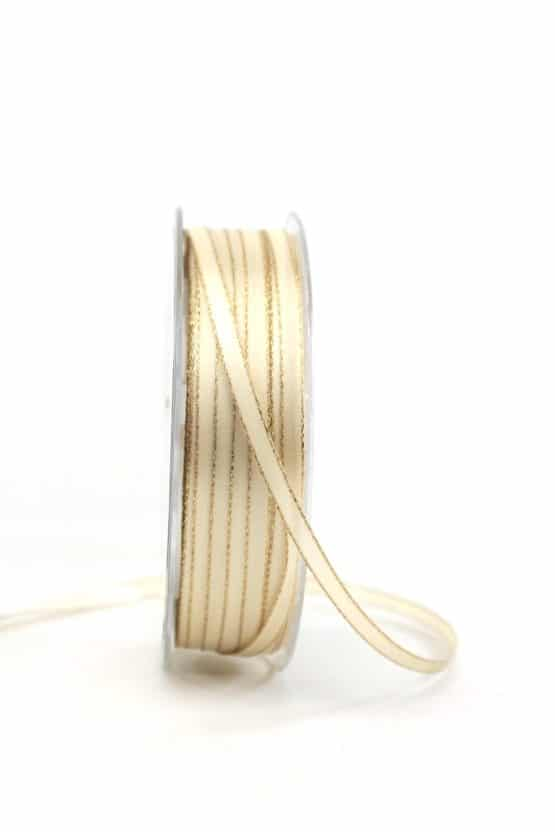 Satinband mit Goldkante, creme, 6  mm breit - satinband-goldkante, satinband