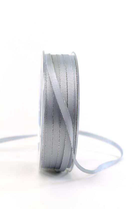Satinband mit Silberkante, grau, 6  mm breit - satinband-goldkante, satinband