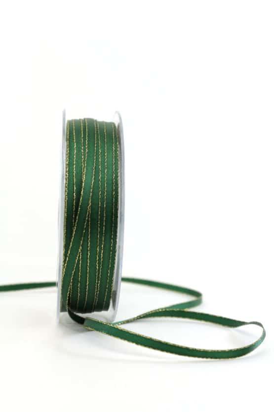 Satinband mit Goldkante, dunkelgrün, 6  mm breit - satinband-goldkante, satinband