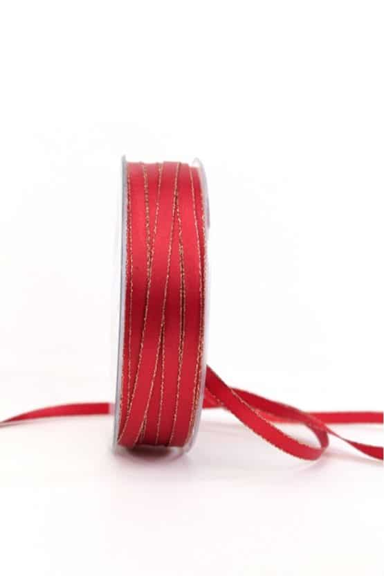 Satinband mit Goldkante, rot, 6  mm breit - satinband-goldkante, satinband