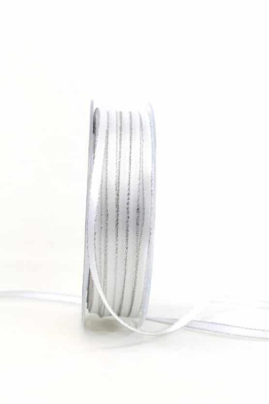 Satinband mit Silberkante, weiß, 6  mm breit - satinband-goldkante, satinband