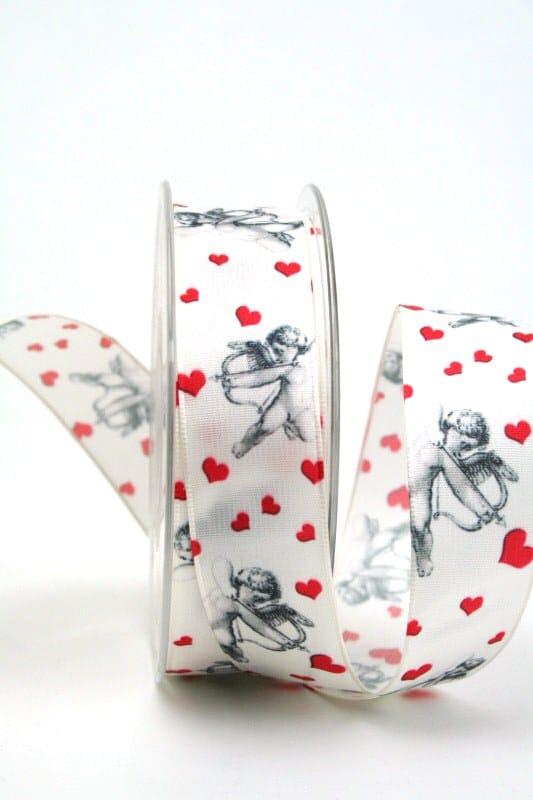 Satinband Amor, 25 mm breit - satinband, hochzeitsbaender, bedrucktes-satinband, bedruckte-everyday-bander, valentinstag, muttertag
