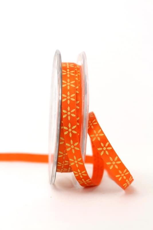 Satinband Blüten, gelb-orange, 10 mm breit - sonderangebot, satinband, bedrucktes-satinband, bedruckte-everyday-bander, 20-rabatt