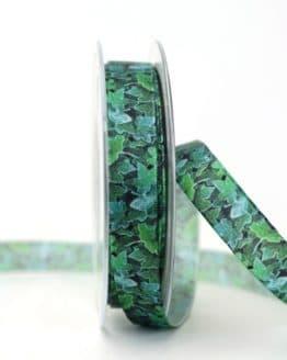 Satinband Efeu, 15 mm breit - satinband, hochzeitsbaender, bedrucktes-satinband, bedruckte-everyday-bander