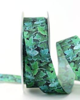 Satinband Efeu, 25 mm breit - satinband, hochzeitsbaender, bedrucktes-satinband, bedruckte-everyday-bander