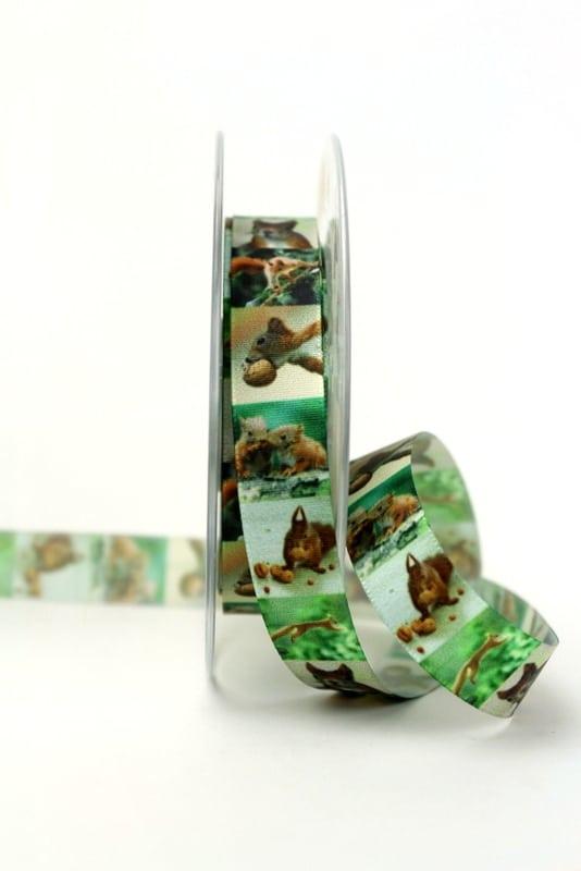 Satinband mit Eichhörnchen, 15 mm breit - sonderangebot, satinband, bedrucktes-satinband, bedruckte-everyday-bander, 20-rabatt