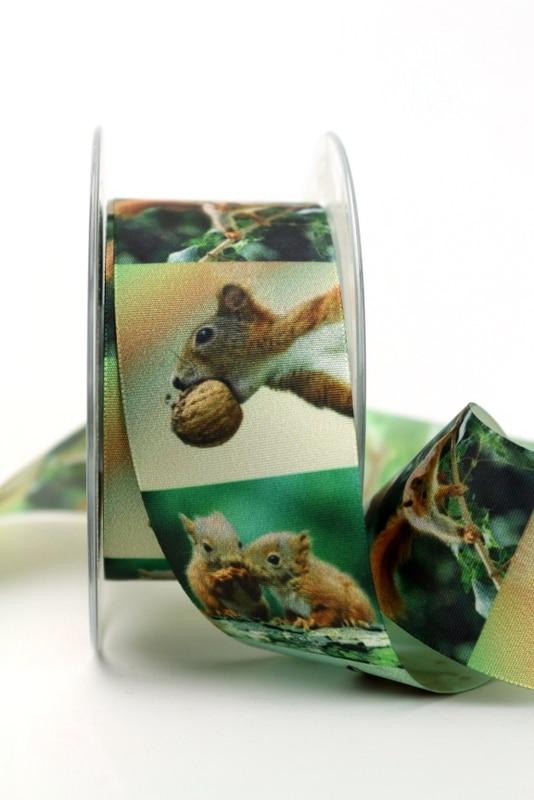 Satinband mit Eichhörnchen, 40 mm breit - sonderangebot, satinband, bedrucktes-satinband, bedruckte-everyday-bander, 20-rabatt