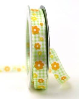 Satinband Karo und Blüten, grün, 15 mm breit - sonderangebot, satinband, bedrucktes-satinband, bedruckte-everyday-bander, 20-rabatt