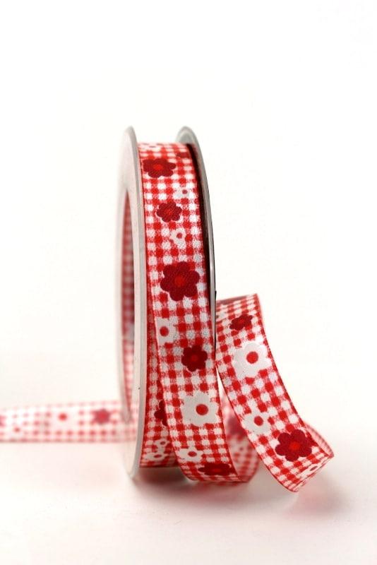 Satinband Karo und Blüten, rot, 15 mm breit - sonderangebot, satinband, bedrucktes-satinband, bedruckte-everyday-bander, 20-rabatt
