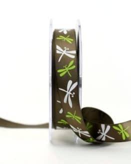 Satinband mit Libellen, braun, 15 mm breit - sonderangebot, satinband, bedrucktes-satinband, bedruckte-everyday-bander, 20-rabatt