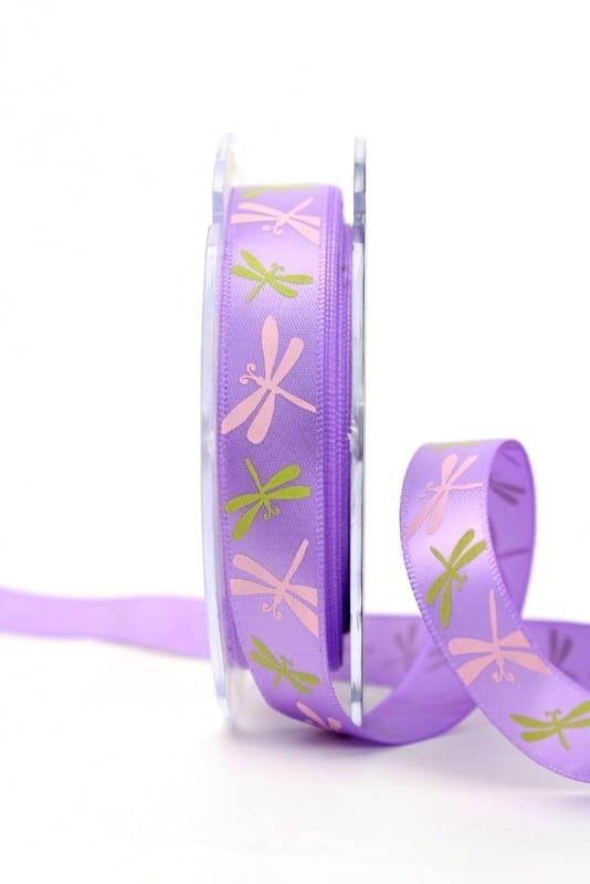 Satinband mit Libellen, flieder, 15 mm breit - sonderangebot, satinband, bedrucktes-satinband, bedruckte-everyday-bander, 20-rabatt