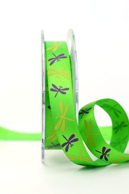 Satinband mit Libellen, grün, 15 mm breit - sonderangebot, satinband, bedrucktes-satinband, bedruckte-everyday-bander, 20-rabatt