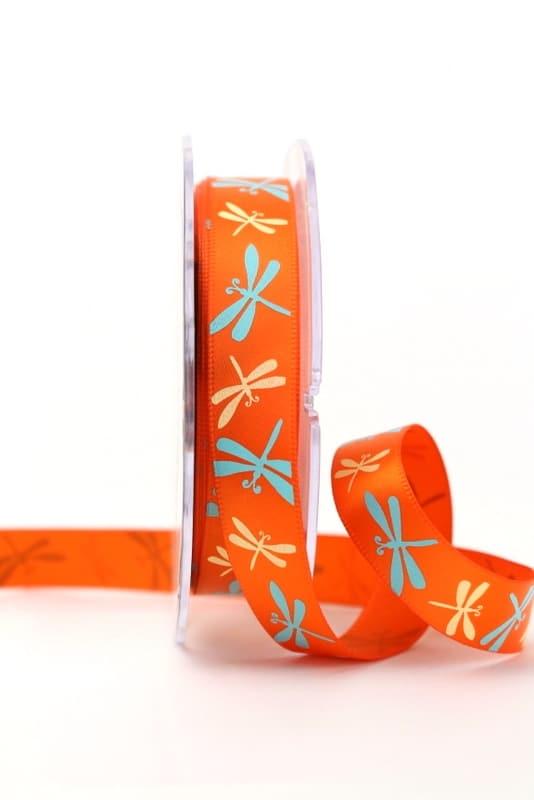 Satinband mit Libellen, orange, 15 mm breit - sonderangebot, satinband, bedrucktes-satinband, bedruckte-everyday-bander, 20-rabatt