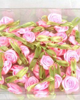 Streurosen aus Satinband, rosa-grün, 20 mm groß - streuartikel, hochzeitsaccessoires, kommunion-konfirmation