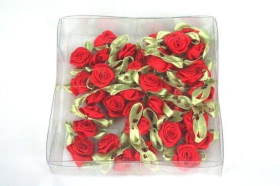 Streurosen aus Satinband, rot-grün, 20 mm groß - streuartikel, hochzeitsaccessoires, kommunion-konfirmation