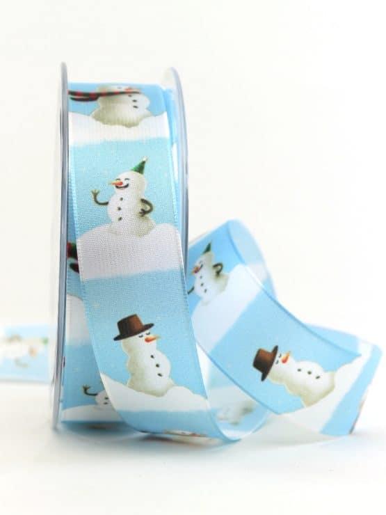 Satinband Schneemänner, eisblau, 25 mm breit - weihnachtsband, satinband, bedrucktes-satinband, bedruckte-weihnachtsbander