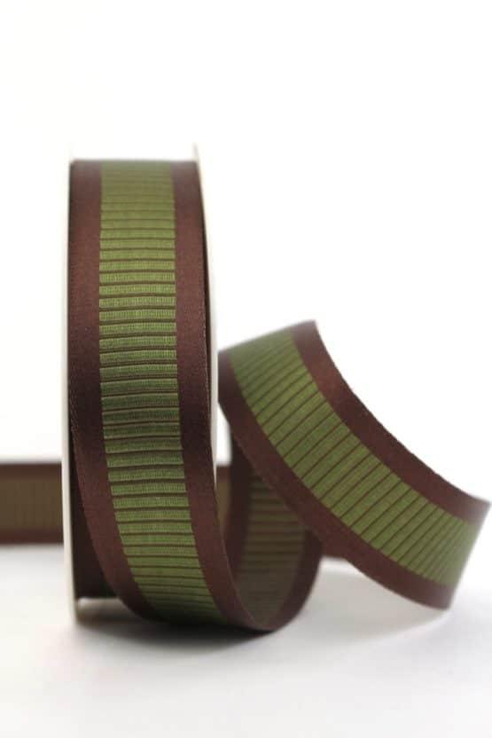 Satinband mit Querstreifen, braun-grün, 25 mm breit - gemusterte-bander