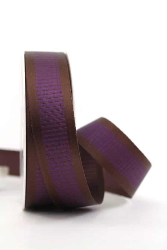 Satinband mit Querstreifen, braun-lila, 25 mm breit - gemusterte-bander