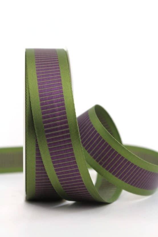 Satinband mit Querstreifen, grün-lila, 25 mm breit - gemusterte-bander