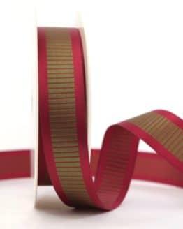 Satinband mit Querstreifen, rot-grün, 25 mm breit - gemusterte-bander