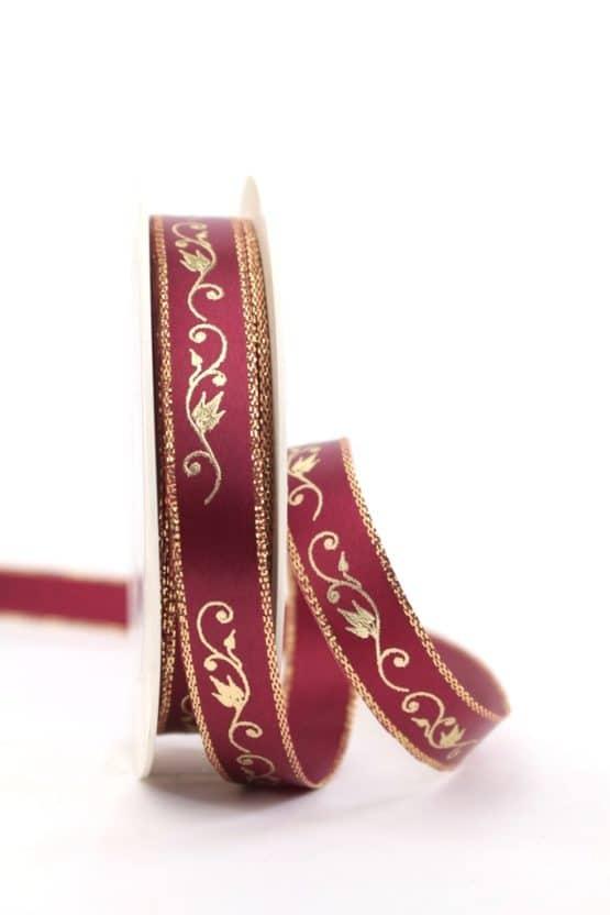 Satinband Ornament, bordeaux-gold, 15 mm breit - weihnachtsband, satinband, bedrucktes-satinband, bedruckte-weihnachtsbander